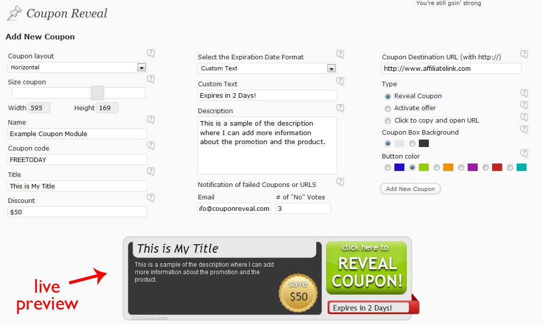 Coupon Reveal Admin Screenshots | WP Coupon Reveal